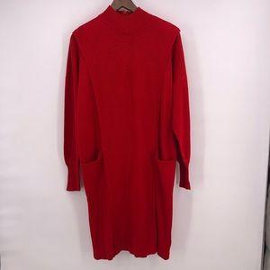 Saks Fifth Avenue dress red wool blend